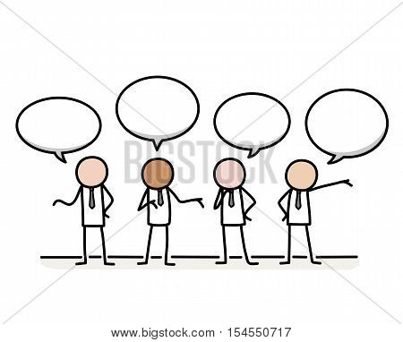 Public Relations Communication Concept. A hand drawn vector cartoon illustration of a group of businessman stick figures communicating together.