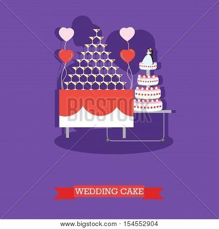 Wedding cake - stock vector illustration in flat style design