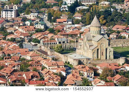 Svetitskhoveli orthodox Chiristian cathedral church complex in Mtskheta, Georgia. aerial view