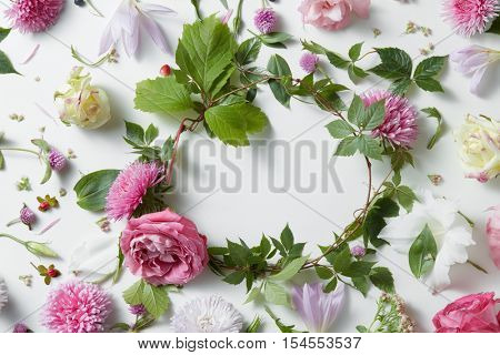 frame of pink flowers on a white background, copy space for your text or design