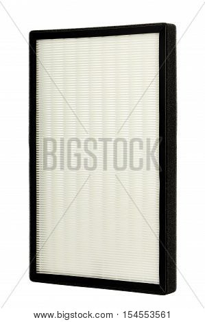 clean and new air purifying filter isolated on white