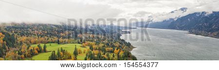 Fall Colors at Columbia River Gorge from Capehorn Lookout in Washington State in Autumn Panorama