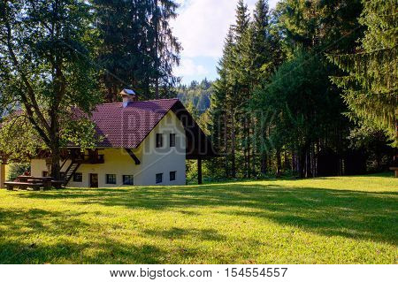 View of mountain hut in the Kočevski Rog also called Kočevje Rog Slovenia