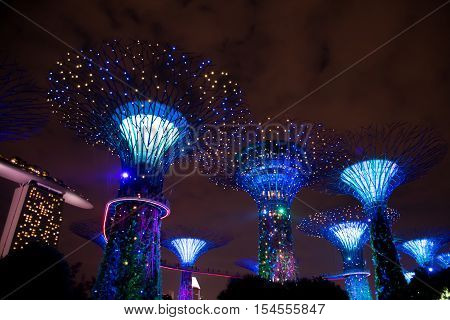 SINGAPORE, 1 October 2016: Garden Rhapsody lightshow - Gardens by the Bay