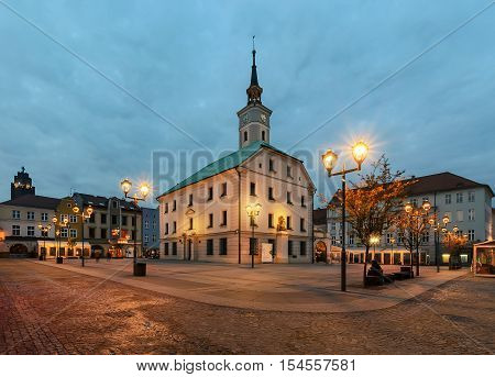 Market square in Gliwice with town hall in autumn. Poland Europe.