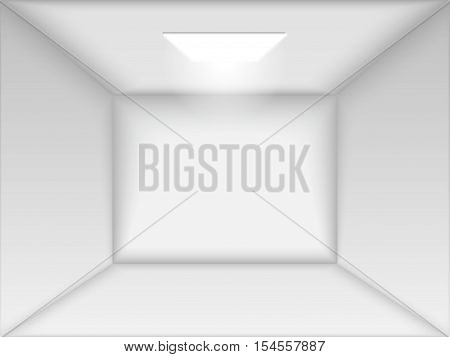 Vector empty white room. Render 3D. Perspective with one Light and Ambient Occlusion