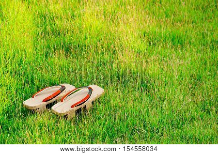 Traditional Japanese 'geta' Slippers.pair Of Old Japanese Sandals - Geta Japanese Geta Sandals Are A