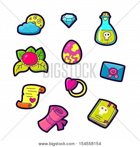 Set of Fashion patch badges with cute elements - letter scroll poison book ring moon diamond heart. Perfect design for stickers pins embroidery patches. Vector illustration isolated on white background.