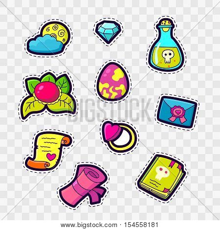 Set of Fashion patch badges with cute magic elements - letter scroll poison book ring moon diamond heart. Perfect design for stickers pins embroidery patches. Vector illustration.