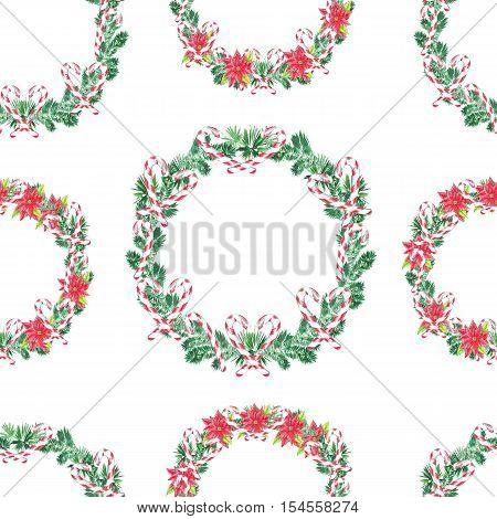 Seamless pattern. Watercolor Christmas Wreath. Xmass decoration.