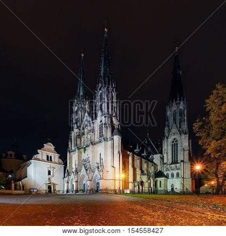 St.Wenceslas Cathedral in Olomouc in autumn. Czech Republic. Europe.
