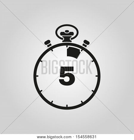 The 5 seconds, minutes stopwatch icon. Clock and watch, timer, countdown symbol. UI. Web. Logo. Sign. Flat design. App. Stock vector