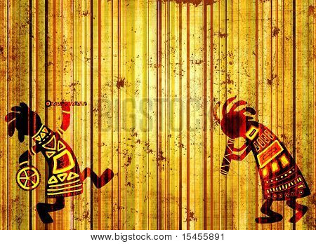 Dancing musicians. African national patterns