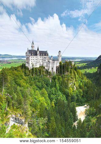 Neuschwanstein Castle  near Fussen in southwest Bavaria, Germany