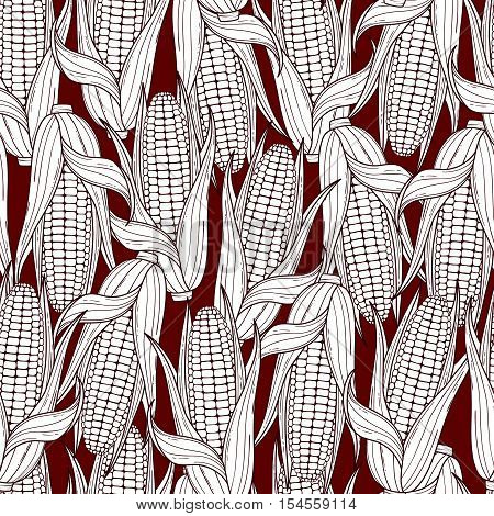Hand drawn corn cobs seamless pattern. Vector background of vegetables
