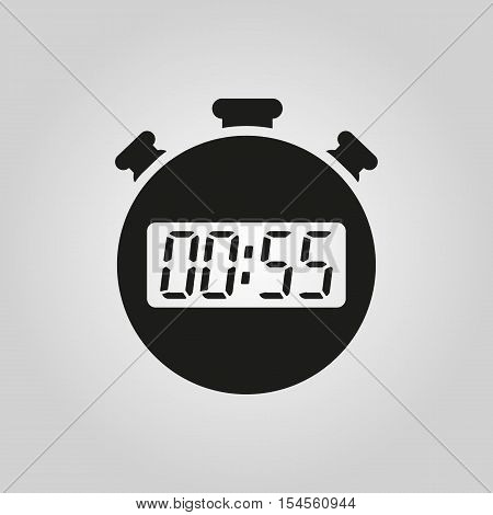 The 55 seconds, minutes stopwatch icon. Clock and watch, timer, countdown symbol. UI. Web. Logo. Sign. Flat design. App. Stock vector