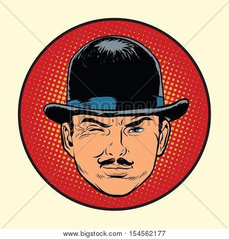Retro European sleuth spy or detective, pop art vector