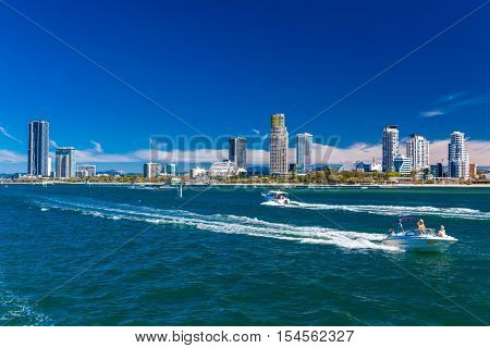 Gold Coast, AUS - SEPT 04 2016 Water sports with the view of Southport suburb, Gold Coast, Australia