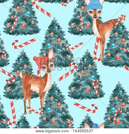 New year seamless pattern. Fawns. Christmas background 2