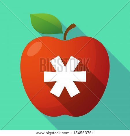 Long Shadow Apple Fruit Icon With An Asterisk