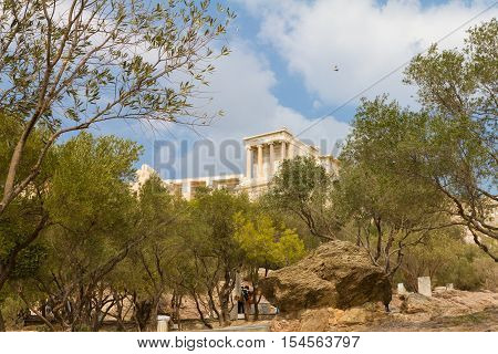 The Acropolis of Athens in Greece behind olive trees as a pegion flies by