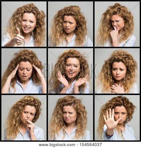 Collection of woman facial expressions