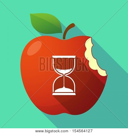 Long Shadow Apple Fruit Icon With A Sand Clock