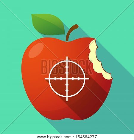 Long Shadow Apple Fruit Icon With A Crosshair