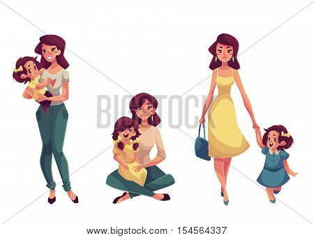 Mother and daughter, set of cartoon vector illustrations isolated on white background. Happy mother holding, cuddling, hugging, embracing her daughter. Pretty young woman with a little daughter
