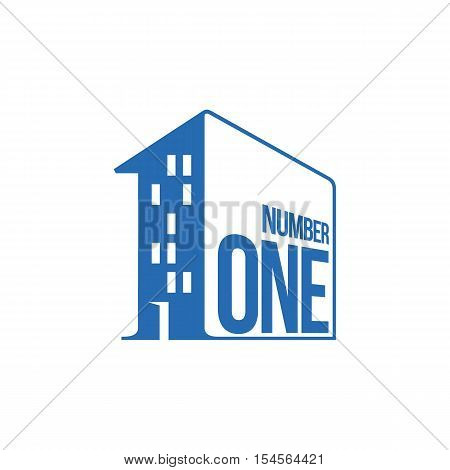 blue and white number one logo as apartment house, vector illustrations isolated on white background. Graphic logo with number one written on a house wall for utility and management companies