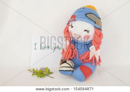 i love you feeling message card and baby doll