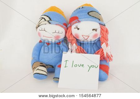 i love you special feeling message card and baby doll