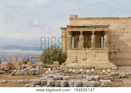 Caryatids on the Erechtheum temple on the Acropolis of Athens Greece