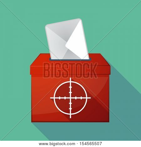 Long Shadow Ballot Box With A Crosshair