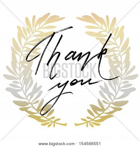 Thank you hand drawn lettering calligraphy text on white background with golden olive branches. Grateful lettering. Vector illustration stock vector.