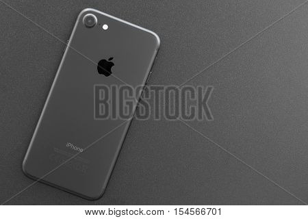 Bangkok, Thailand - November 2, 2016: iphone 7 backside on top view, new iPhone 7 is manufactured by apple inc.