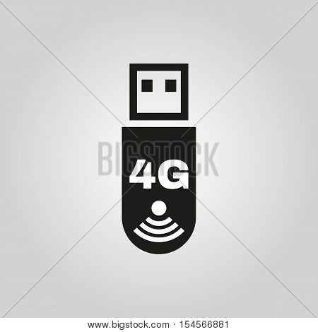 The 4g adapter icon. Transfer and connection, data symbol. UI. Web. Logo. Sign. Flat design. App. Stock vector