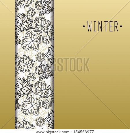 Vertical seamless border design. Winter polygonal trendy style snowflakes on white gold background. Winter holidays snowfall concept. Vector illustration stock vector.