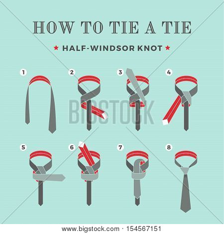 Instructions on how to tie a tie on the turquoise background of the eight steps. Half-Windsor knot . Vector Illustration