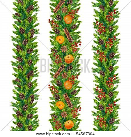Set of watercolor christmas seamless borders of fir branches, cones, red berries, cinnamon, anise, tangerines, watercolour hand painted