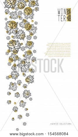 Vertical border snowfall design. Winter polygonal trendy style snowflakes on white gold background. Winter holidays snowfall concept. Vector illustration stock vector.
