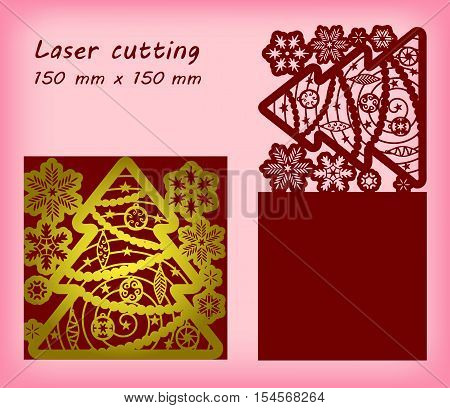 Laser cutting template with snowflakes, christmas tree and christmas tree toys. For greeting cards, invitations. Size 150 mm x 150 mm. Vector illustration.