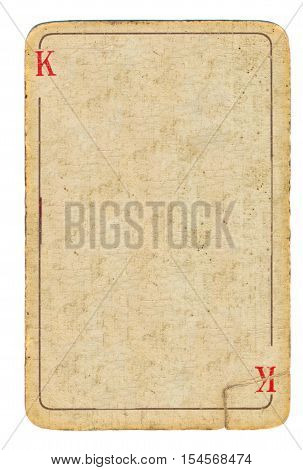 empty old used playing card paper background with line and king letter symbols