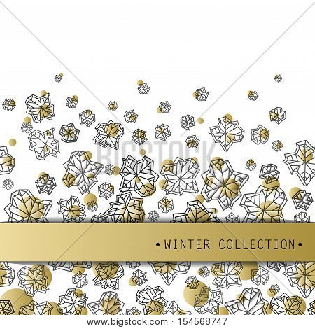 Horizontal seamless border with winter label. Polygonal trendy style snowflakes on white gold background. Winter holidays snowfall concept. Vector illustration stock vector.