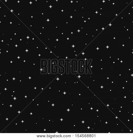Vector Simple Seamless Pattern With Silver Stars On A Black Background