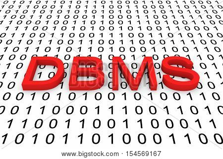 DBMS in the form of binary code, 3D illustration