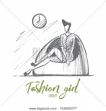 Vector hand drawn Fashion girl concept sketch. Stylish woman in mini dress with cute hairstyle sitting on fashionable chair under wall clock. Lettering Fashion girl concept