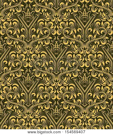 Damask seamless pattern repeating background. Gold olive floral ornament with Y letter and crown in baroque style. Antique golden repeatable wallpaper.