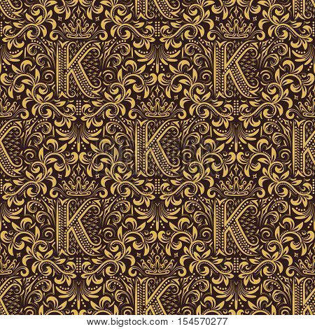 Damask seamless pattern repeating background. Gold brown floral ornament with K letter and crown in baroque style. Antique golden repeatable wallpaper.
