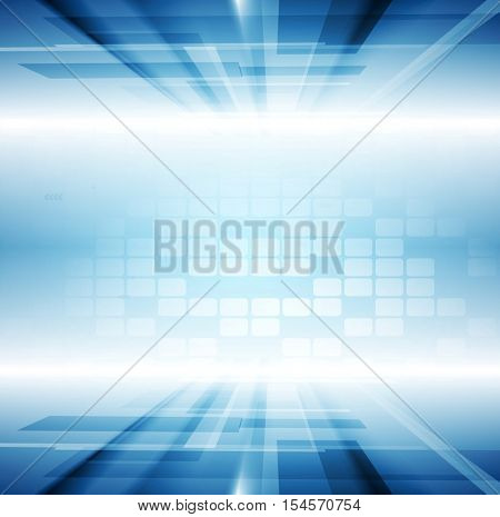 Bright blue motion technology abstract vector background